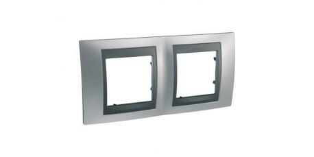 UNICAtop Рамка 2 поста металл (никель/графит)