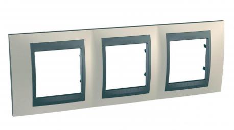UNICAtop Рамка 3 поста металл никель/графит